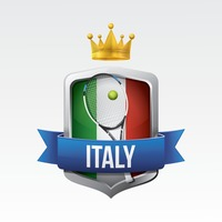 Italy flag with racket and ball