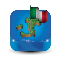 Italy map and flag aerial view
