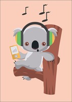 Koala bear enjoying music