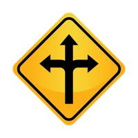 Left, right or straight arrow auxiliary sign
