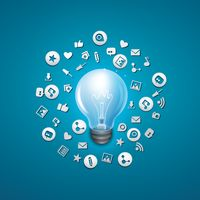 Light bulb with social media elements