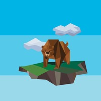 Low poly of bear on mountain