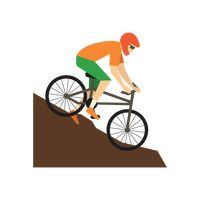 Man cycling down a slope