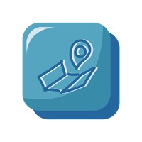 Map and map pointer icon