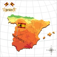 Map of spain with badajoz