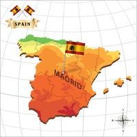 Map of spain with madrid