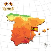Map of spain with murcia