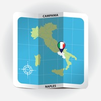 Map pointer indicating campania on italy map