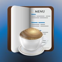 Menu book with coffee cup