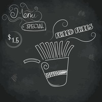 Menu special fried fries design