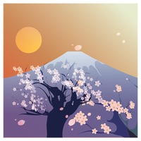 Mount fuji kyoto and cherry blossom