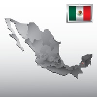 Navigation pointer indicating campeche on mexico map