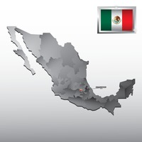 Navigation pointer indicating distrito federal on mexico map
