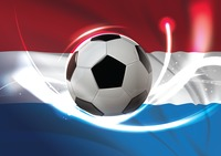 Netherlands flag with soccer ball