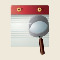 Note book with magnifying glass