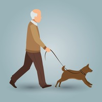 Old man walking with his dog
