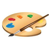 Paint palette with a brush