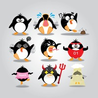 Penguin with different actions