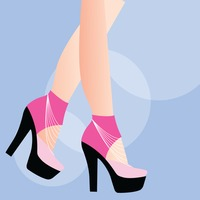 Person wearing high heels on blue background