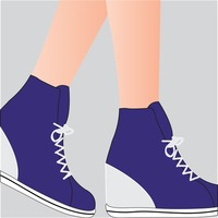 Person wearing sneaker wedges