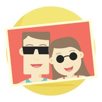 Photograph of a couple wearing sunglasses
