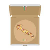 Pizza in shape of apulia map