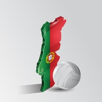 Portugal map with volleyball