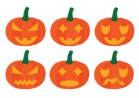 Pumpkins with different expressions