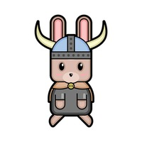 Rabbit viking warrior