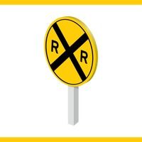 Railroad crossing road sign