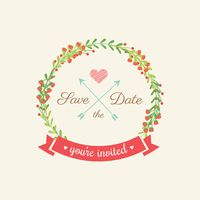 Save the date with wreath
