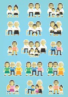 Seamless pattern of happy family