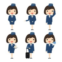 Set of air hostess icons