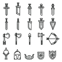 Set of ancient weapon icons