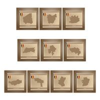 Set of belgium state map stickers