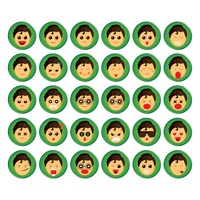 Set of boy emoticon icons