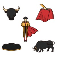 Set of bullfighter icons