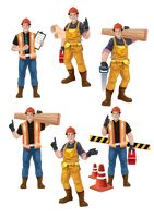 Set of construction workers