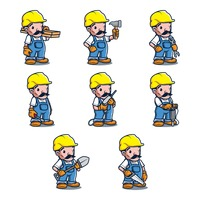 Set of constructor man holding tools