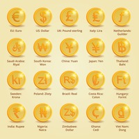 Set of currency coins of different countries