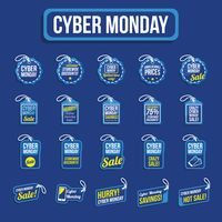 Set of cyber monday sale tag
