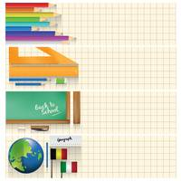 Set of educational supplies on banners