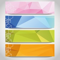 Set of faceted banners