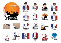 Set of france tourism icons