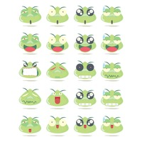 Set of frog emotions