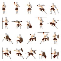 Set of gladiator soldiers with action