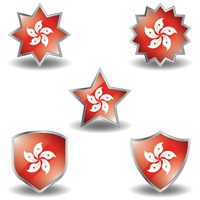 Set of hong kong flag icons