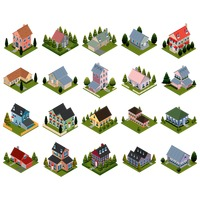 Set of isometric houses