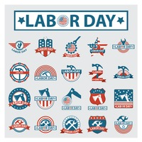 Set of labor day labels