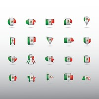 Set of mexico flag stickers